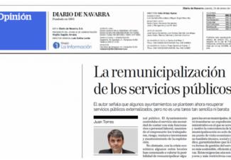 OPINIÓN   La remunicipalización de los servicios públicos de los Ayuntamientos